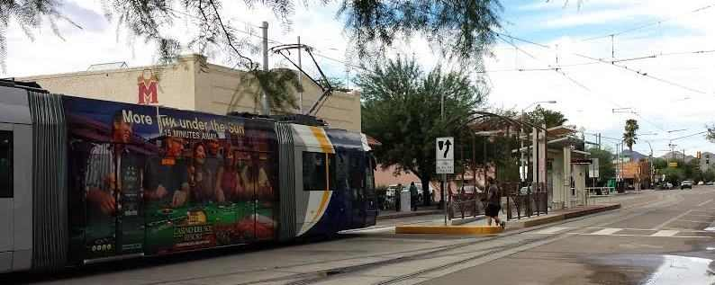 Streetcar at Time Market in Tucson's West University Neighborhood